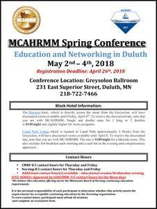 MCAHRMM Spring 2018 Schedule